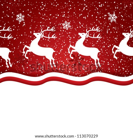 Beautiful red Christmas background with reindeer