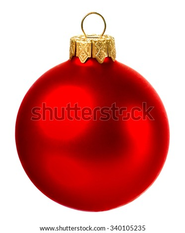 beautiful red christmas ball isolated on white background - stock photo