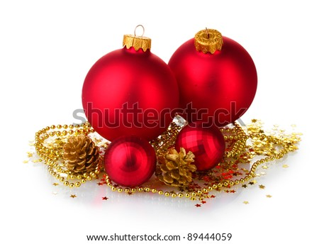 beautiful red Christmas balls and cones isolated on white