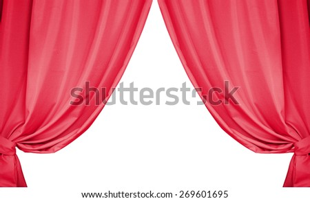 Beautiful red curtains isolated on white background. - stock photo