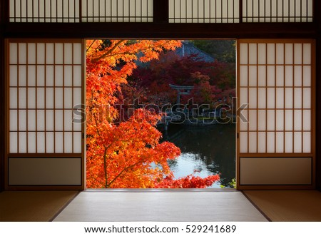 Beautiful red fall maple leaves framed by traditional Japanese room doorway