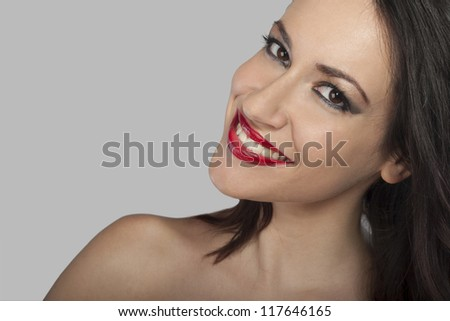 beautiful red female lips and smile - stock photo