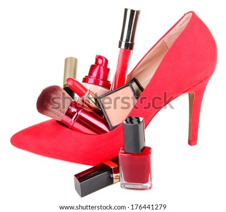 Beautiful red female shoe with cosmetics, isolated on white - stock photo