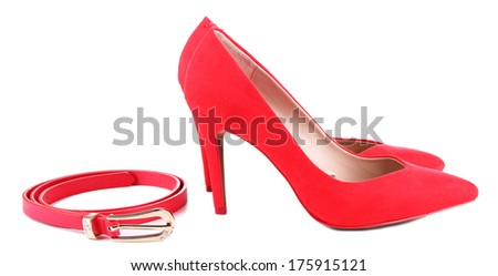 Beautiful red female shoes and belt, isolated on white
