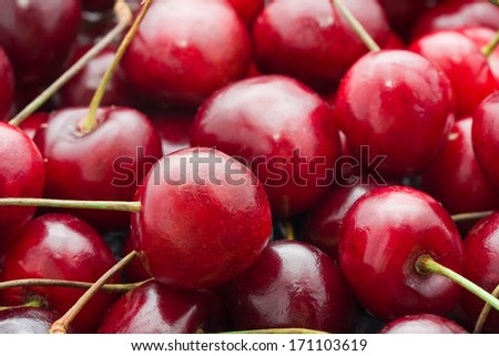 Beautiful red fresh cherry macro photo background - stock photo