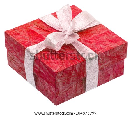Beautiful red gift isolated on white background - stock photo