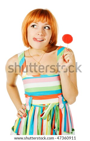 beautiful red girl with candy isolated on white background