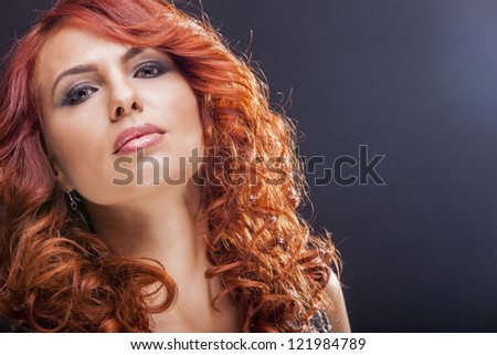 Beautiful red hair woman - stock photo