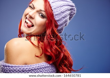 beautiful red hair woman in warm clothing  - stock photo