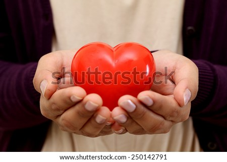Beautiful red heart shape in female hands - stock photo