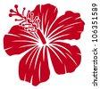 Beautiful red hibiscus flower - stock vector