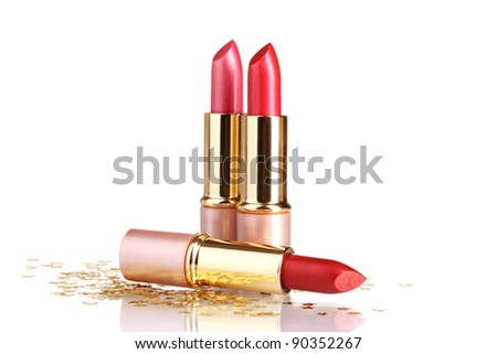 beautiful red lipsticks isolated on white - stock photo