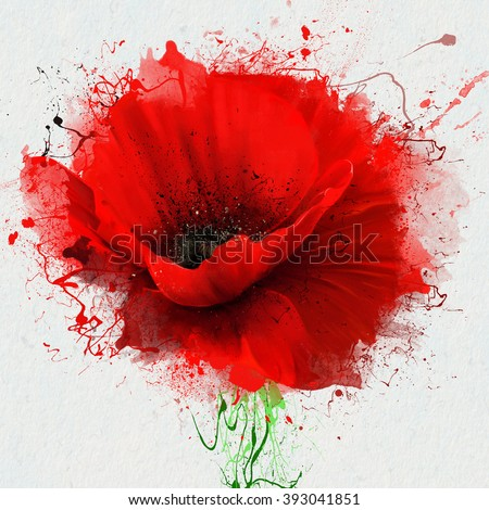 Beautiful red poppy, closeup on a white background, with elements of the sketch and spray paint, as illustration for the cover of a notebook or Notepad, or print for garment - stock photo