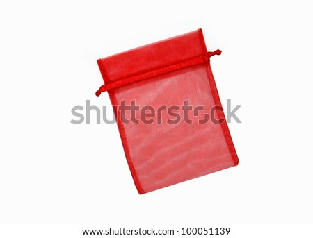 Beautiful Red Pouch Bag to hold jewelry and delicate items isolated on white background - stock photo