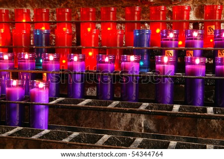 Beautiful Red, Purple and Blue Prayer Candles