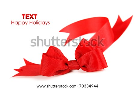 Beautiful red ribbon & bow isolated on white background - stock photo