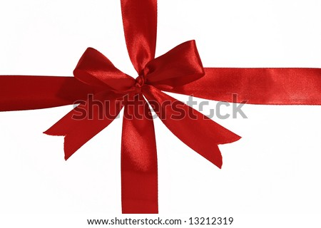 beautiful    Red    Ribbon      isolated with clipping path