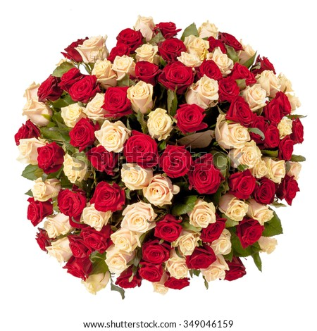 Beautiful red roses bouquet  isolated on white. - stock photo