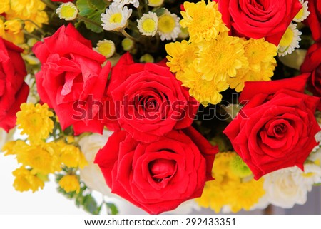 beautiful red roses flowers bouquet for interior decorated in 14 february valentine day - stock photo
