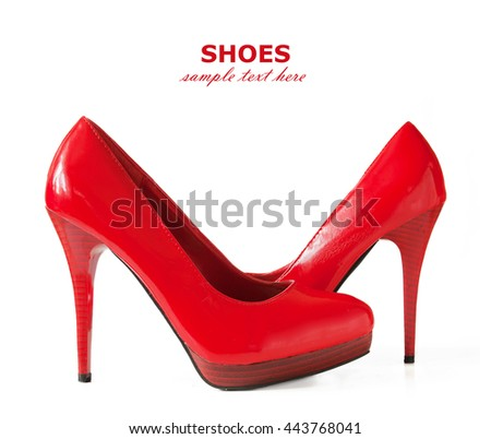 Beautiful red shoes isolated on white background - stock photo