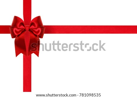 beautiful red silk ribbon bow with crosswise ribbons isolated on white background