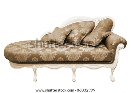 Beautiful red sofa on a white background