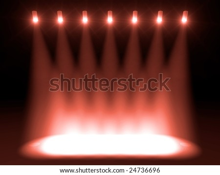 Beautiful red stage lights - stock photo