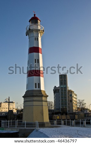 beautiful red striped lighthouse in Malmoe, Sweden