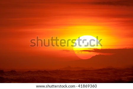 Beautiful Red Sunset - stock photo