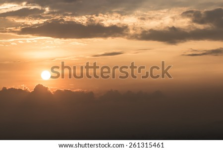Beautiful red sunset in Bogota city, Colombia - stock photo