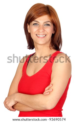 Beautiful redhead girl isolated on a over white background - stock photo