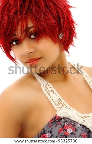 Beautiful Redheaded Black Woman over White with Makeup - stock photo