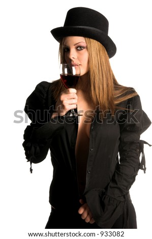 Beautiful redheaded woman in a top hat drinking wine