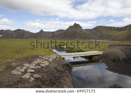 Beautiful reflection in a small creek at Iceland - stock photo