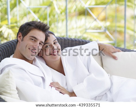 Portrait happy family four vacation beach stock photo for Spa vacations for couples