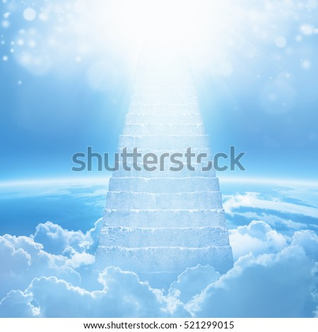 Beautiful religious background - stairs to heaven, bright light from heaven, stairway leading up to skies