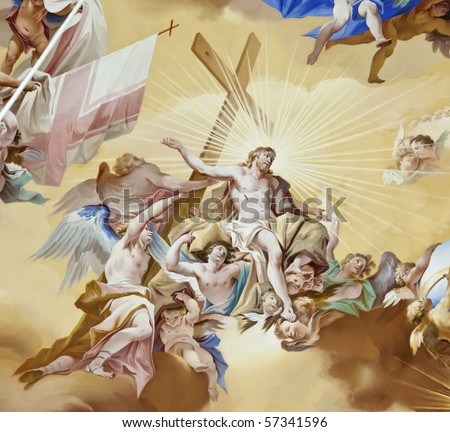 beautiful religious fresco - stock photo