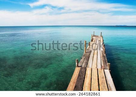beautiful remote paradise beach background - stock photo
