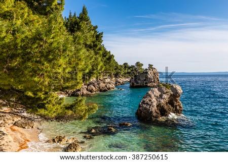 Beautiful Remote Rocky Seashore Between Baska Voda And Brela - Makarska, Dalmatia, Croatia - stock photo