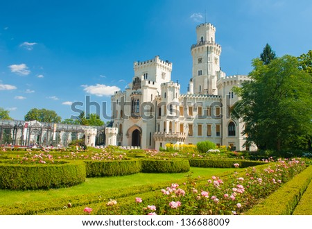 Beautiful renaissance castle Hluboka i the Czech Republic is located in rose gardens