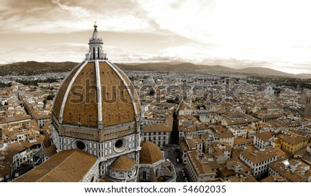 Beautiful renaissance cathedral Santa Maria del Fiore in Florence, Italy in sepia - stock photo