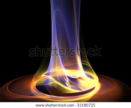 Beautiful rendered flame on black background - stock photo