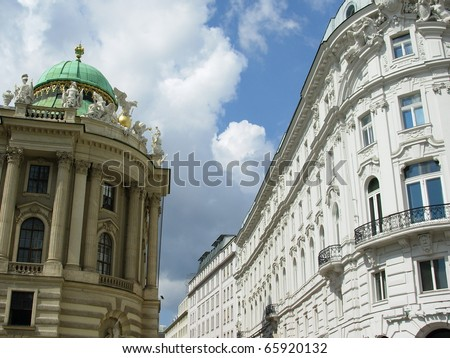 beautiful residential building in Vienna - stock photo