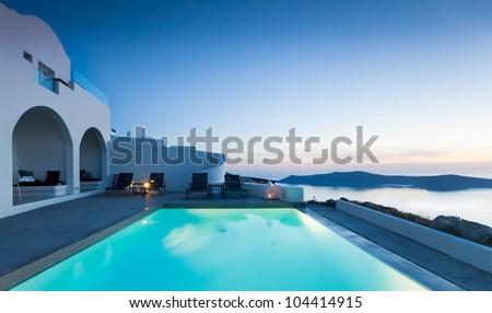 Beautiful Resort on the Island of Santorini - stock photo