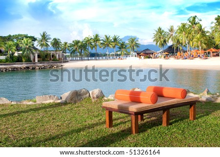 Beautiful resort with Mount Kinabalu in the distance, Sabah, Borneo. - stock photo