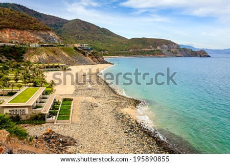 Beautiful resort with really nice beach at Nha Trang bay, Khanh Hoa, Vietnam. Nha Trang is well known for its beaches and scuba diving and has developed into a popular destination for int. tourists - stock photo