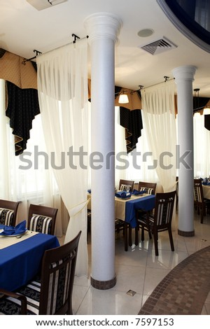 Beautiful restaurant with columns in modern hotel