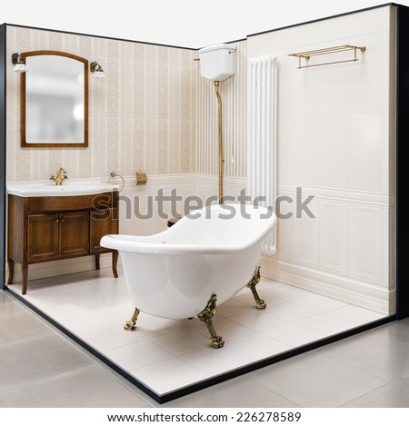 Beautiful retro bathroom built in the showroom. The bathroom has a shower, toilet and sink.