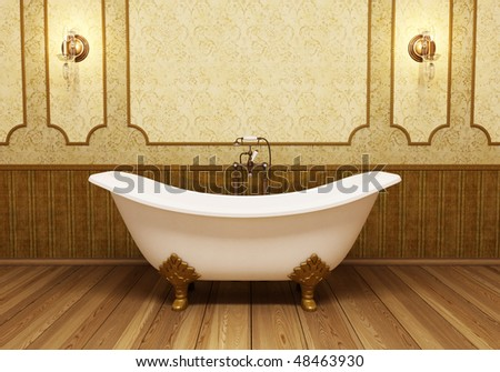 Beautiful retro bathroom in eclectic style - stock photo