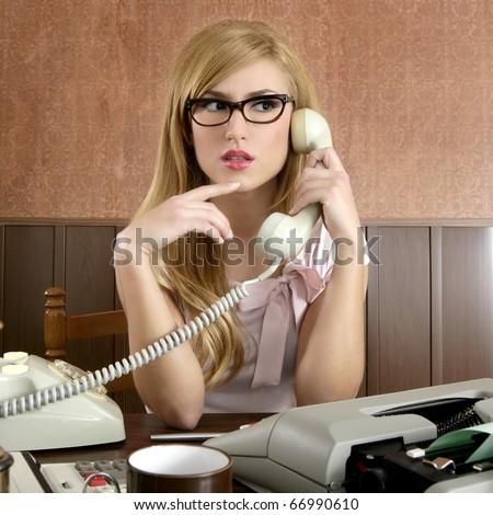 beautiful retro businesswoman vintage secretary wooden office and glasses talking telephone - stock photo